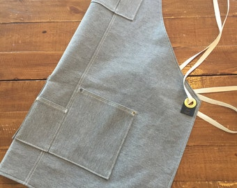 Utility Apron - Cross Back Apron - Denim Apron - Shop Apron - Work Aprons - Denim