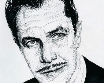 Original pen drawing of Vincent Price