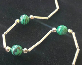Sale! Malachite/Liquid Silver Necklace