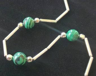 Malachite/ Liquid Silver Necklace!!