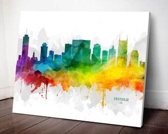 Nashville Skyline Canvas, Nashville Print, Nashville Art, Nashville Gift, Nashville Cityscape, MMR-USTNNA05C
