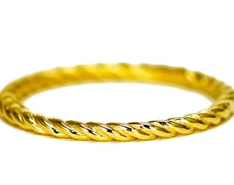 14k Yellow Gold Band, Delicate Stackable Band, Simple Thin Gold Band