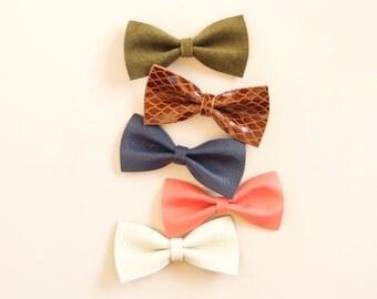 Baby Leather Bows, Hair Bow, Crocodile Clip/ Soft Nylon Headband, Adult Bow, Little Girl Bow, Newborn Bow, Girls Bow, Green, Blue, Maroon