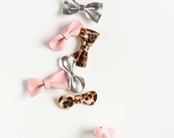 Mini Leather Hair Bow Crocodile Clip or Nylon Headband, Blush Pink, Silver Metallic & Leopard Print Baby/Adult Bow, Summer/Spring Soft Bow