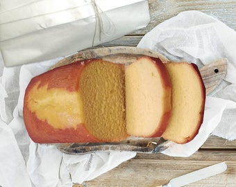 Three loaves of clasic pound cake, buttery, dense and moist