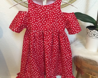 Red and White Dots Cold Shoulder Dress, Mickey outfit, Mickey dress, Mickey toddler dress
