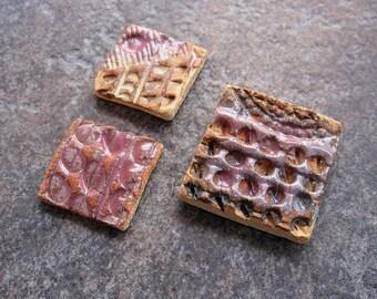 Ceramic mosaic tiles, brown mosaic tiles, blue-grey mosaic tiles, ceramic jewellery components, mosaic supplies, jewellery making