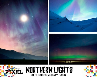 NORTHERN LIGHTS Photoshop OVERLAYS, Aurora Borealis, Night Sky Overlay.