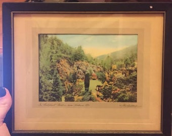 Hand Tinted Photography Set of Three Scenes Framed