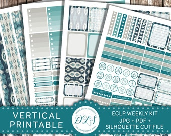 Printable VERTICAL Planner Stickers for Erin Condren, Weekly Planner Kit, Printable Planner Stickers, Boho Planner Stickers Kit, VS102