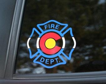 Colorado Flag Fire Department die-cut sticker