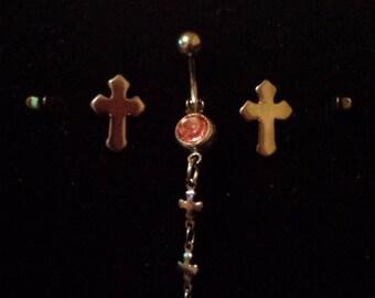 Crosses navel ring w/matching earrings