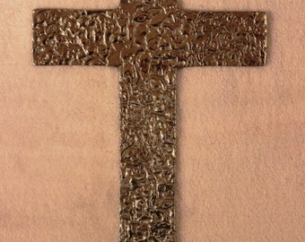 Mexican Pewter Cross - Milagro Pattern