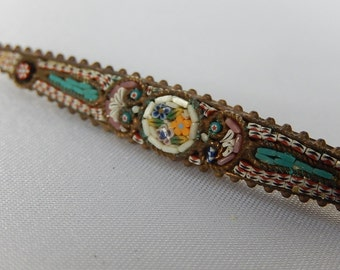 Micro mosaic brooch former Italy