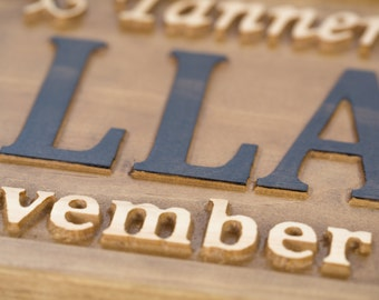 Family Name Sign Wedding Name Sign Save the Date Prop Wedding Photo Prop Wedding Date Sign Wedding Prop Rustic Wedding Engagement Gift