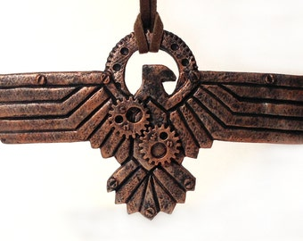 Steampunk Victorian men pendant (medal necklace) 'Copper Eagle' (WW II inspired)