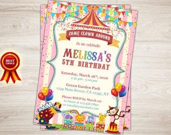 Girl Carnival 5th Birthday Invitation Carnival Photo Invitation Pink Circus First Birthday Invitation, Circus Invitation, Carnival Invite