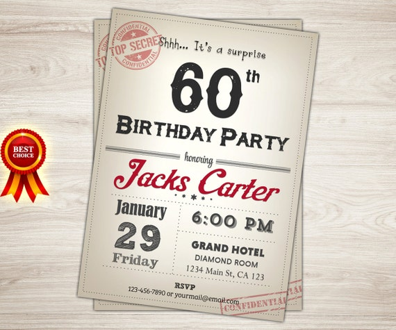 Birthday Invitation For Men. Men 60th Surprise By