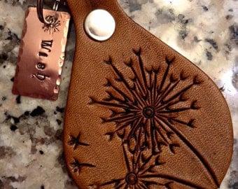 Leather Dandelion Wish Keychain - Leather Keyfob; Dandelion Keyfob