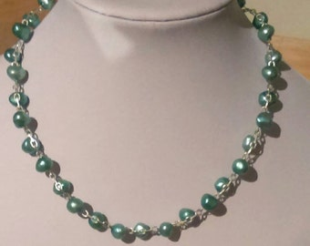 Teal Blue Freshwater Pearl Necklace