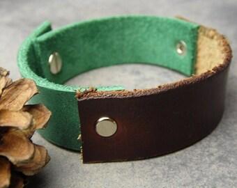 leather cuff, leather bracelet, brown bracelet, raw edge bracelet, green bracelet, boho bracelet, leather wrap, unisex bracelet, boho