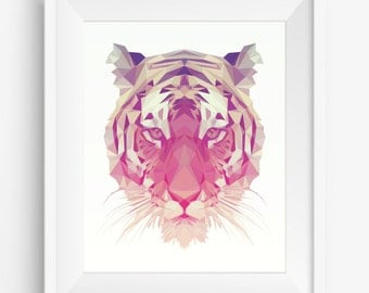 Tiger Print,Polygonal Tiger,Geometric Tiger Head Art Wall Print,Tiger Art, Low Poly,Geometric Animal Prints, Tiger Head,digital prints,