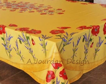 French Tablecloth POPPY LAVENDER YELLOW Rectangle 98 X 62 Inches Acrylic  Coated   French Oilcloth Fabric