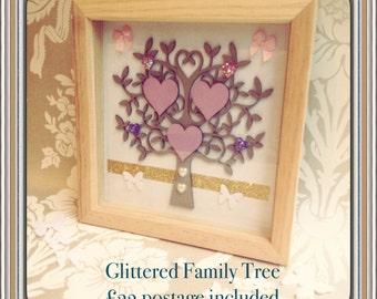 Glittered Family Tree/love/family/hearts/homedecor/picture/handmade/gift