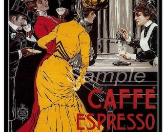 Vintage Cafe Espresso Advertising Poster Print