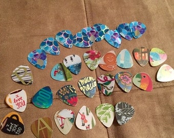 Custom Punched Guitar Picks made from Starbucks Cards