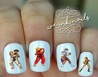 STREET FIGHTER PIXELATED-Water Slide Decals-Nail Decals-Nail Art