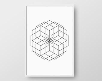 Minimalist Geometric Poster, Printable Scandinavian Poster, Minimal Geometric Print, Nordic Print, Scandinavian Print, Printable Wall Decor