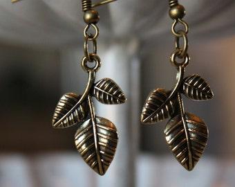 Bronze Three Leaf Dangle Earrings