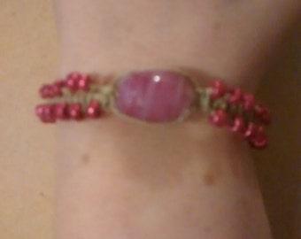 Magenta glass beaded hemp bracelet