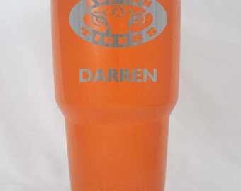 20 30 oz Yeti or RTIC in silver orange or black custom Auburn Tigers personalized your choice