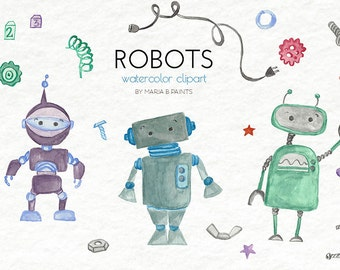 Hand Painted Watercolor Clip Art - Robots, Personal Use, Instant Download, Nuts, Bolts, Screws, Plug, Gears, Spring, Stars, Blocks, Bots