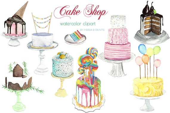 Watercolor Cake Clip Art : Watercolor Clip Art Cakes Instant by MariaBPaintsClipArt ...