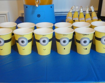 Minion Despicable me inspired idea for kids birthday Party decoration Minion cups PRINTABLE Instant Download minion eyes + mouth