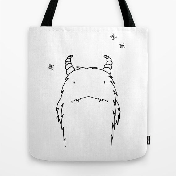 Shy Yeti Tote Bag Illustration Bag Black & White Beach Bag