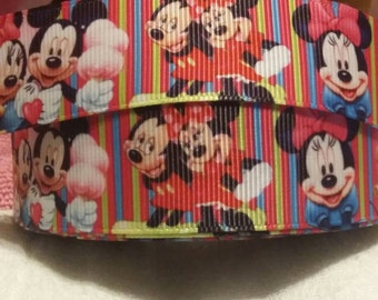 3 yards 1' grosgrain ribbon Mickey and Minnie design