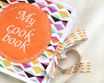 Pretend Play Cook Book,  quiet book, Educational toy, Girl Quiet Book, Baby Busy Book, Orange nursery, Gift for girl, Made to Order
