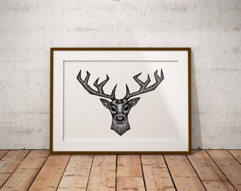 Geometric Stag Head, Stippling Black And White Ink Drawing, Giclee Print
