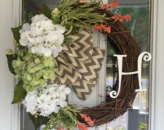 Hydrangea  wreath, Year round wreath, Door wreath, monogram wreath, letter wreath, decor wreath, all season wreath, chevron wreath.