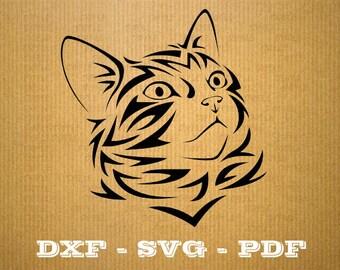 File DXF Cat Silhouette Svg, Png, Dxf cat, cricut clipart, vector, cat Silhouette laser cutting, digital cutting