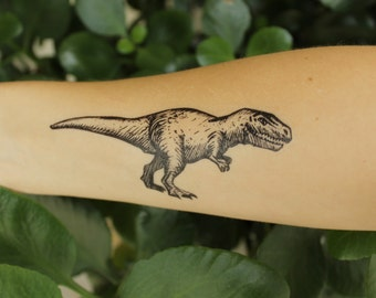 Tyrannosaurus Rex Temporary Tattoo, Black Ink Design, Dinosaur Animal Tattoo, Nature Tattoo