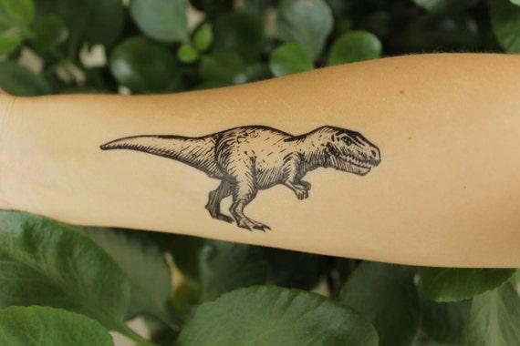 Tyrannosaurus Rex Temporary Tattoo, Black Ink Design, Dinosaur Animal Tattoo, Nature Tattoo