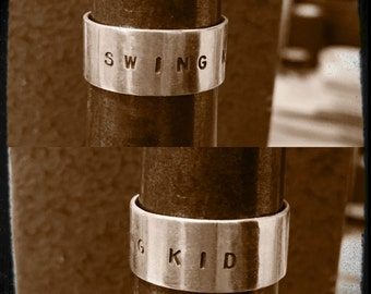 Swing Kid Hand Stamped Sterling Silver Ring