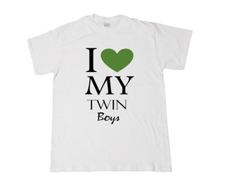 I <3 My Twin Boys/Girls/Girl&Boy (front) #TwinMom/#TwinDad (back) Shirt for Mom/Dad! Choose heart color and style needed. See Pics!