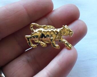 Silver Tone Walking Tiger Brooch Pin