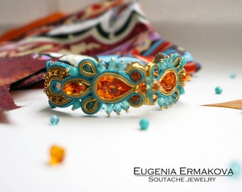Soutache bracelet Blue orange soutache bracelet Soutache jewelry Turquoise blue tangerine orange soutache bracelet with Swarovski crystals